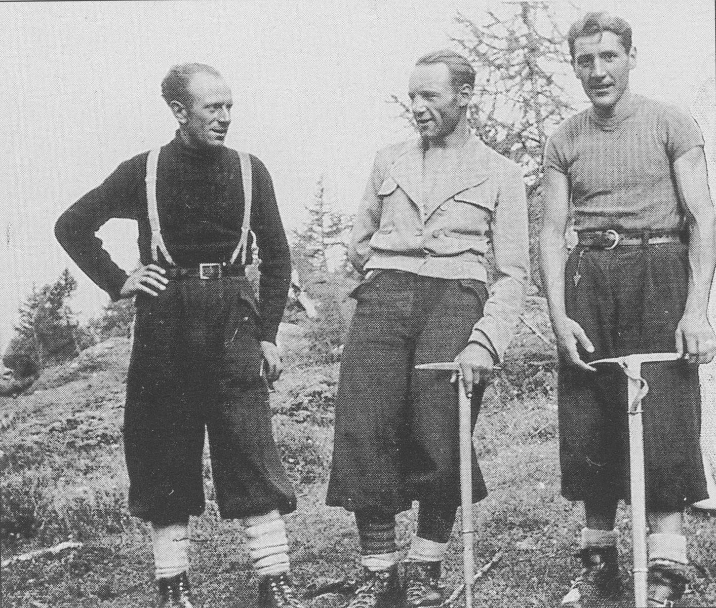 Cassin, center, after climbing Grands Jorasses. Ugo Tizzoni is left, Gino Esposito, right.