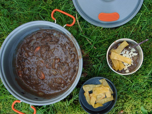 Black Bean Soup with Fried Tortilla Strips
